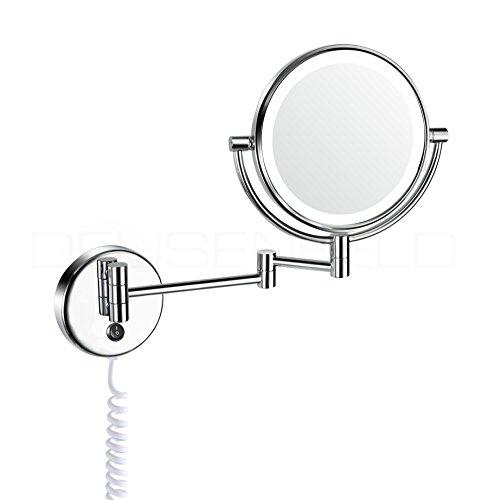 DEUSENFELD WLED72 - LED Doppel Wand Kosmetikspiegel, Rasierspiegel, Schminkspiegel, 7X Vergrößerung + Normal, Ø20cm, Tageslicht LEDs, verchromt