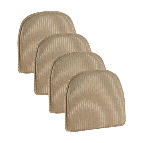 Klear Vu Nakita Striped Non-Slip Dining Kitchen Chair Pads, 15' x 16', Set of 4 Cushions, Natural 4 Count