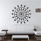 jiushivr Yoga Wall Decal Chambre Yoga Mandala Motif Floral Décoration Inde 112x112cm