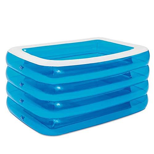 YANGHAO-Bañera grande- Piscina de 4 anillos para niños adultos, piscina grande transparente, piscina en el suelo con piscina para niños, piscina para niños, piscina al aire libre azul 305x180x75cm / c