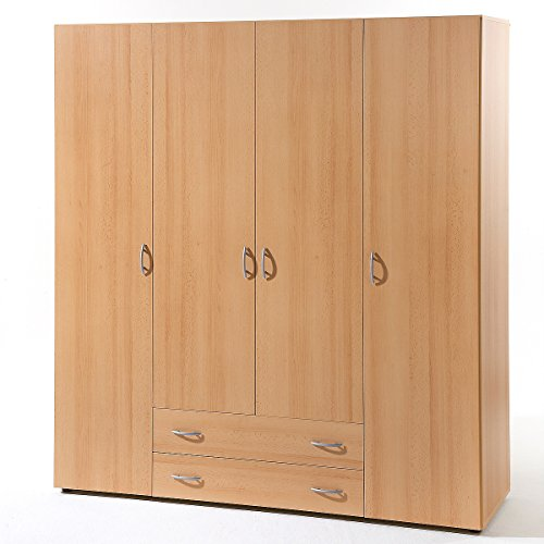 Möbel Akut Kleiderschrank Base 4 Schlafzimmer Schrank 4-türig in Buche Dekor 160 cm breit