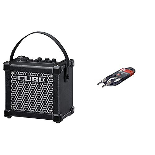 Roland Micro Cube GX Guitar Amplifier, Ultra-Compact Guitar Amp with Custom-Designed Speaker, Black & Stagg 10ft. S-Series, phone-plug/phone-plug, deluxe Instrument cable