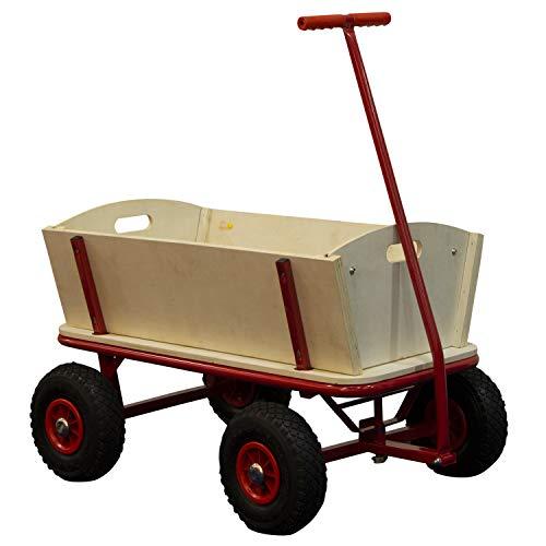 SUNNY Billy Beach Wagon Bollerwagen in Rot | Kinder Handwagen aus Holz mit Luftreifen | Belastbar bis 100 kg