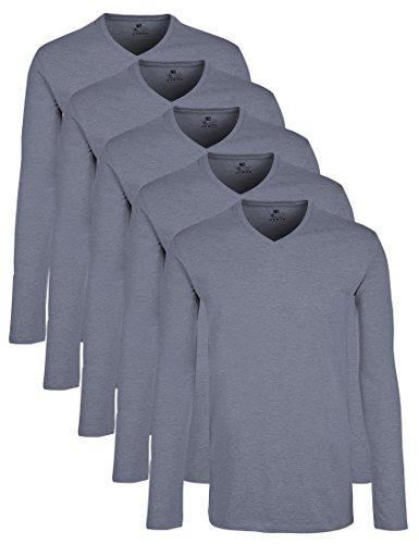Lower East Herren Langarmshirt mit V-Ausschnitt, 5er Pack, Einfarbig, Gr. X-Large, Blau (Rauchblau Melange)