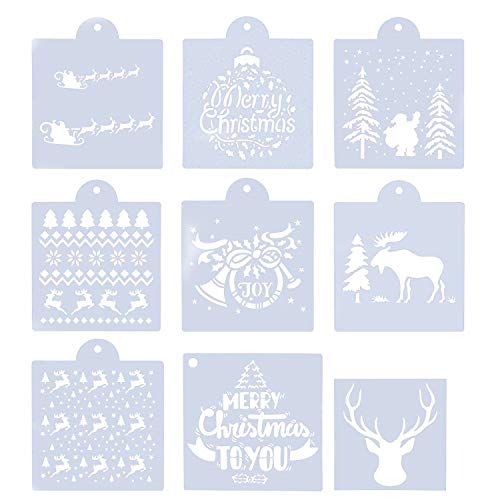 9pcs Christmas Stencils Template for Painting on Wood - Reusable Plastic Craft Art Drawing Painting Spraying Window Glass Door Car Body Wood Journaling Scrapbook Holiday Xmas Snowflake DIY Craft