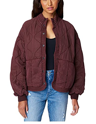 [BLANKNYC] Womens Luxury Clothing Tencel Drop Shoulder Quilted Jacket, Cranberry Juice, Large