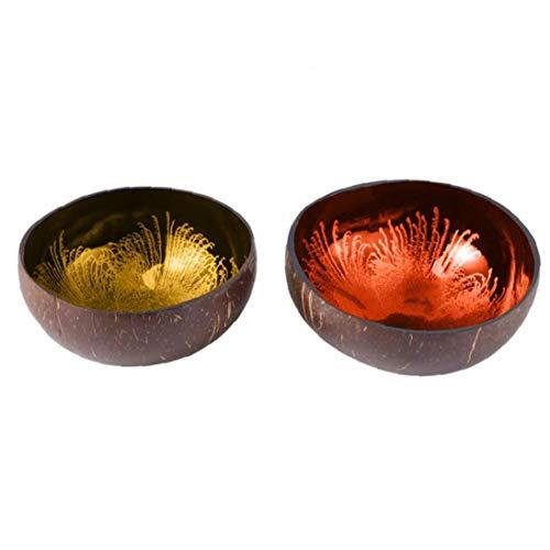 Ensaladera de concha de coco natural, caja de almacenamiento, respetuosa con el medio ambiente, soporte para frutas, fideos, arroces.