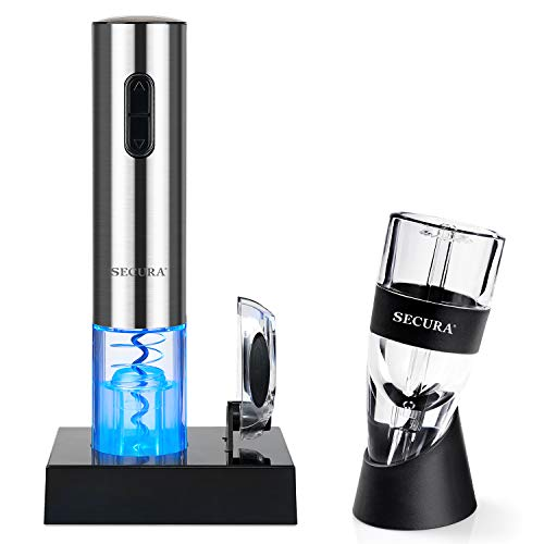 Secura Electric Opener, Foil Cutter, Wine Aerator, Automatic Electric Wine Bottle Corkscrew Opener Set