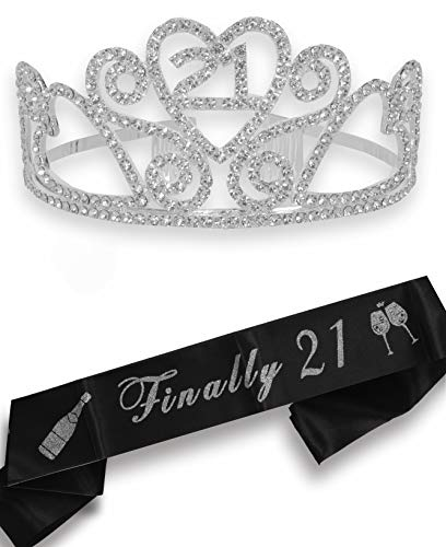 21st Birthday, Finally 21 Birthday, 21st Birthday Gifts for Her, 21 Tiara Silver, 21st Birthday Crown, 21 Birthday Tiara, 21 Sash and Tiara, 21st Crown, 21st Birthday Decorations, 21 Birthday Sash