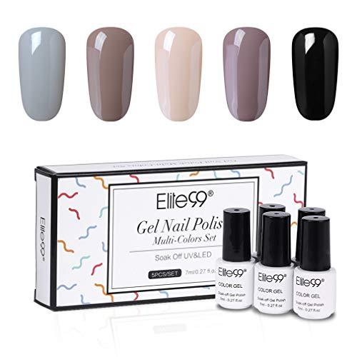 Elite99 UV Nagellack 7ML Geschenkset Herbst Winter Kollektion, UV LED Gel Set mit Box, 5Stück Nail Design Lacke Kit für Anfänger Set002