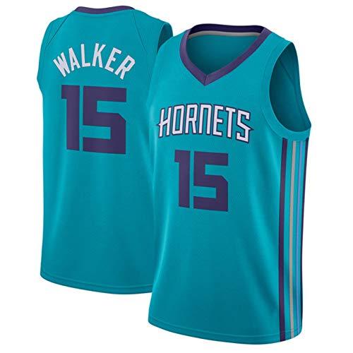 Camiseta Kemba Walker para Hombre, Charlotte Hornets # 15 Uniforme De Baloncesto Poliéster Baloncesto Swingman Chaleco Sin Mangas Bordado Deportivo Informal Blue B-L