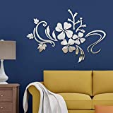 Espejo Adhesivos Pared Autoadhesivo DIY Extraíble Espejo Flor Vid Arte Etiqueta Pared Decoración Salón Habitación Calcomanía(plata)
