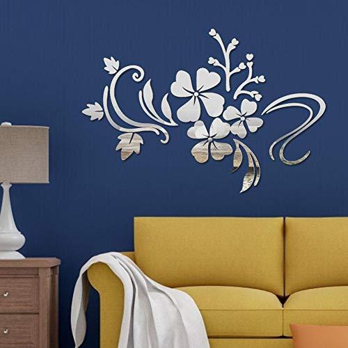 Espejo Adhesivos Pared Autoadhesivo DIY Extraíble Espejo Flor Vid Arte Etiqueta Pared Decoración Salón Habitación Calcomanía...