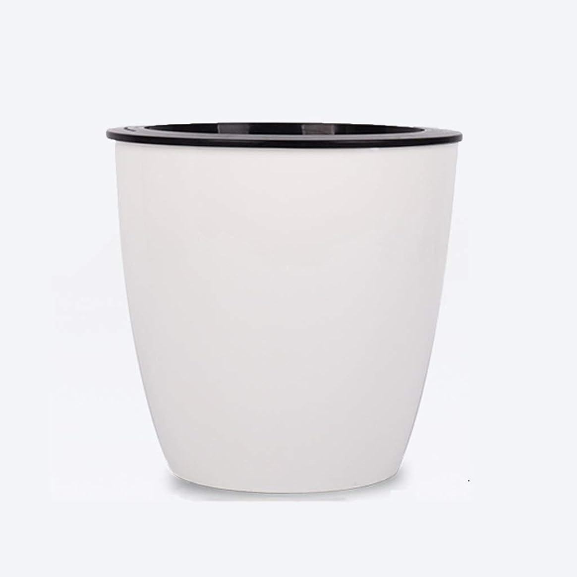 低下記念品補助二重層の植木鉢、白いプラスチック緑の植物の鉢植えの植物の世帯の自動吸水の花の容器 (Color : White, Size : 11*11*10.5CM)