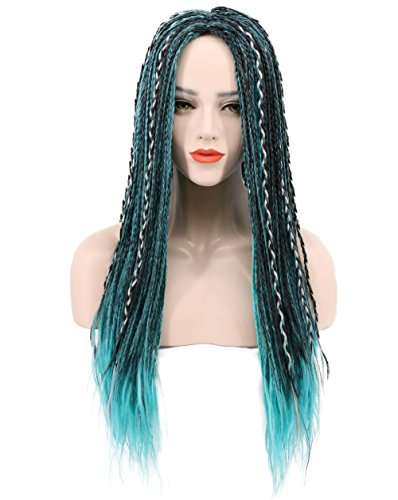 Karlery Long Braid Blue and Black Mixed Wig Halloween Cosplay Wig Anime Costume Party Wig
