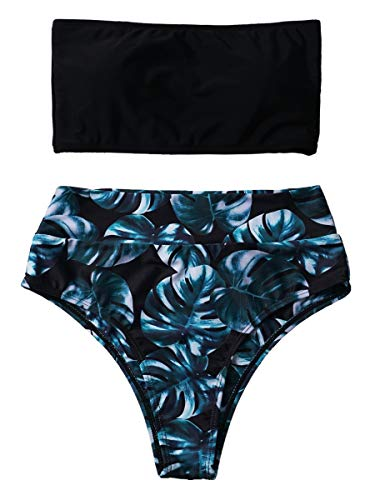 Summer Mae Damen Bikini Set High Waist Bandeau High Cut Trägerlos Zweiteilig Bademode Badeanzug Schwarz Palme S