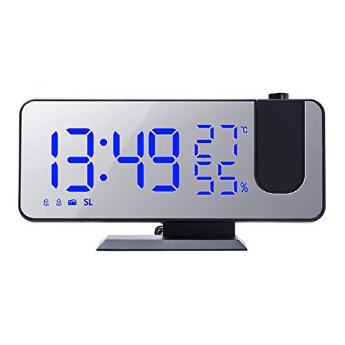 Galapara Led Digitaler Projektionswecker mit Spiegeloberfläche 4-in-1 Projektion 180 ° Temperatur Feuchtigkeit Monitor FM Radio mit USB Anschluss LED Anzeige ℃ / ℉ Wählbar für Schlafzimmer