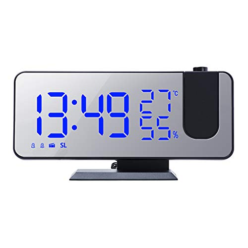 Leeofty Sveglia, Proiettore Orologio Temperatura Umidità Monitor Radio FM Caricatore del telefono Display LED Selezionabile per camera da letto Camera dei bambini Soggiorno Ufficio (Nero & Blu)