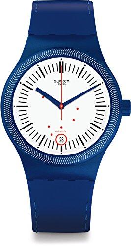 Swatch Herren Digital Automatik Uhr mit Silikon Armband SUTN401