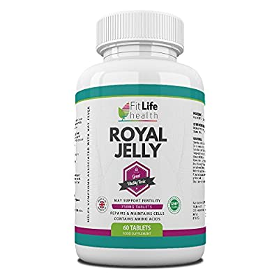 Royal Jelly by Fit Life Health - 750mg High Strength - for Healthy Hair and Skin - Boosts Energy Levels - Helps Fight The Symptoms of Hay Fever - Suitable for Vegetarians - 60 Tablets - Made in UK