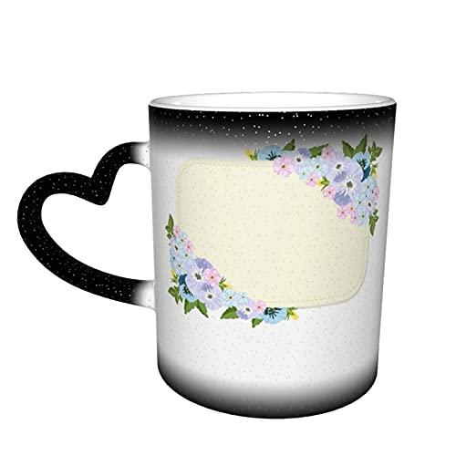 Tasse mit Stiefmütterchen-Blumen und leerer Vorlage, Farbwechsel-Tasse im Himmel, wärmeempfindliche Tasse, magische Kaffeetasse, Keramiktasse