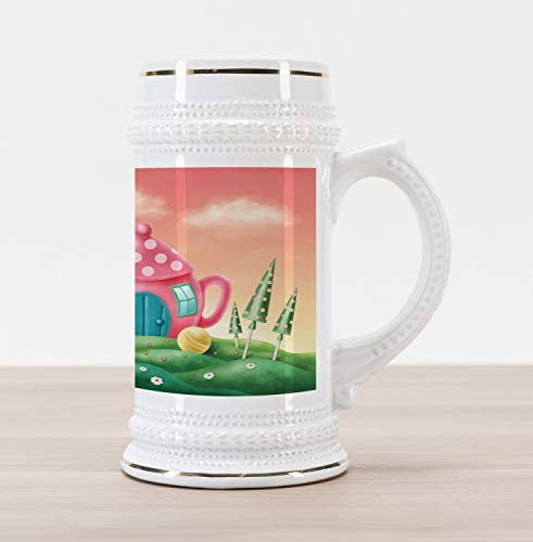 Ambesonne Fantasy Beer Stein Mug Polka Dotted Fantasy Tea Pot and Coffee Cup House Surrounded product image