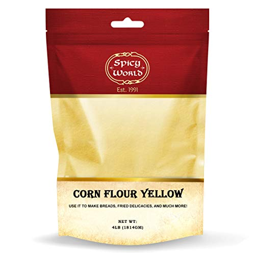 Spicy World Yellow Corn Flour 4 Pound (64oz) - Finely Ground, USA Grown Premium Quality