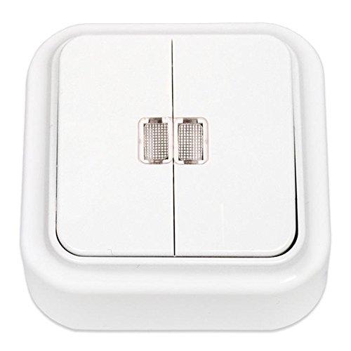 Aufputz Serienschalter Lichtschalter Beleuchtet, IP20 farbe weiß, serie VIKA Vagner SDH
