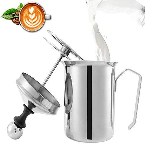 800ml Montalatte, Lychee Schiumalatte Acciaio Inossidabile Manuale Palmare Montalatte a Doppia Parete Schiuma Mousse Mixer per caffè, Latte, caffè Caldo al Cioccolato Cappuccino Foamer Crema