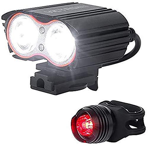 Bicicletas luz Recargables con Retorno Libre luz 4400mAh 2 núcleo T6 / L2 2000 lúmenes 360 ° Soporte de luz Ajustable 2020