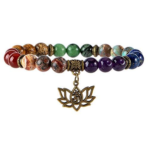 Chakra Bead Bracelets for Women - 8mm 7 Chakra Healing Bracelet with Real Stones Anxiety Meditation Yoga Gemstone Jewelry