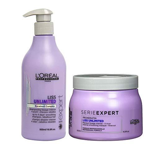 Serie Expert Liss Unlimited Keratinoil Complex Shampoo & Masque 16.9 Oz Each