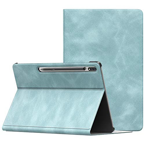 MoKo Case Compatible with Samsung Galaxy Tab S7 Plus 12.4' 2020 SM-T970/976/T975, Lightweight Anti-Slip Stand Folio Cover Smart Shell with Auto Wake/Sleep Fit Galaxy Tab S7 Plus 2020, Cloud Blue