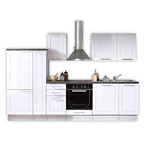 WELCOME 6 Moderne Küchenzeile ohne Elektrogeräte in Weiß Hochglanz - Geräumige Einbauküche mit viel Platz und Stauraum - 300 x 204 x 60 cm (B/H/T)