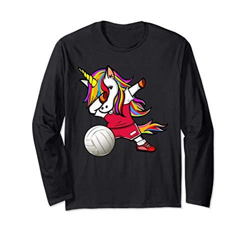 ダンスユニコーンポーランドバレーボールチームポーランド国旗-スポーツ愛好家 Poland Volleyball Fans 長袖Tシャツ