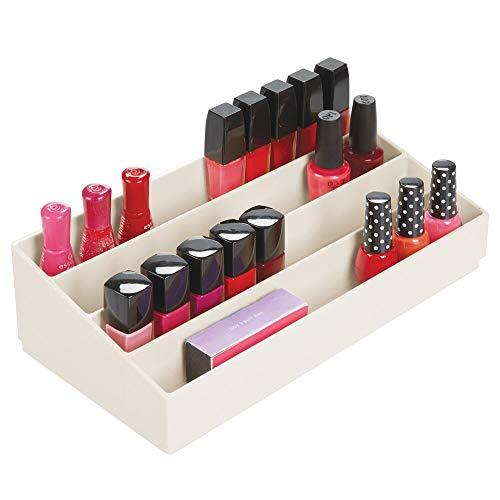 mDesign Kosmetik Organizer – dekorative Kosmetik Aufbewahrungsbox für Nagellack und Puder – Ablage mit Vier Fächern zur Schminkaufbewahrung – cremefarben