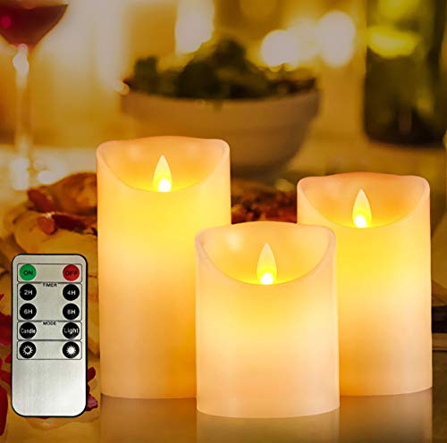 Awinking Battery Operated Flickering LED Lights, 4/5/6-Inch Set of 3 Ivory Warm White Real Wax Flameless Pillars Lights with Dancing LED Flame and 2/4/6/8-Hours Timed Remote
