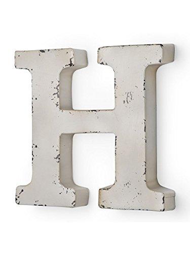 Antique couleur ivoire metal lettre H 32 X 5 X 30 cm