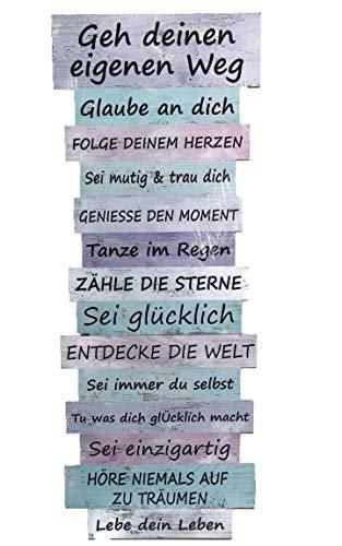 Bada Bing Plankenschild 80 x 30 Schild Lebenseinstellung Pastell Gehe deinen eigenen Weg Wandbild Wegweiser Wanddeko Dekoration Trend 13