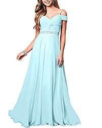 Light Blue Formal Bridesmaid Sleeveless Gown With Rhinestones