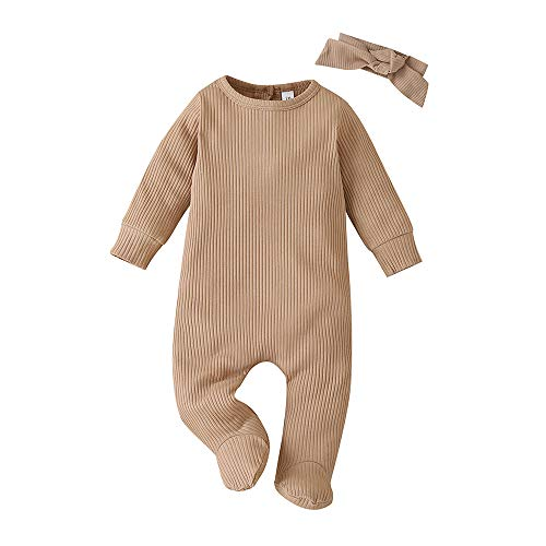 Yingyingni Newborn Preemie Unisex Onesie Cotton Footies Pajamas, Long Sleeve Solid Color Footed Romper Jumpsuit with Headband (Coffee,6-9 Months)