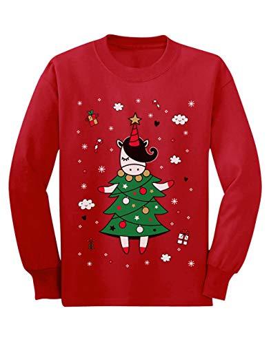 Camiseta de Manga Larga para niños - - Unicorn Xmas Tree - Jersey Féo de Navidad para Niñas 5/6 Años 116cm Rojo