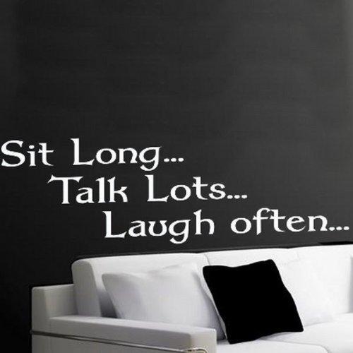 Windsor Designers Sticker Mural – Sit Long Parler Beaucoup Rire Souvent. Décoration Murale Papier Peint Chambre à Coucher Salon Cuisine, Aqua, Medium -Size 90cm x 30cm