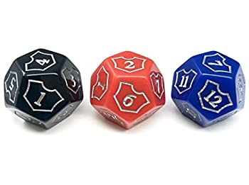 Hedral MTG D12 Spin-Down Loyalty Counter Dice 3 Die Set Red Black Blue - Magic  The Gathering TCG CCG Planeswalker Multi-Color