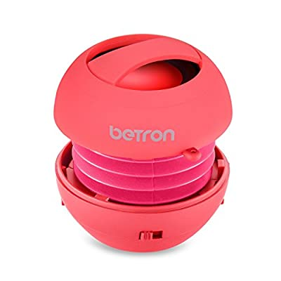 Betron JRS40 Pop Up Portable Mini Travel II Capsule Rechargeable 40mm Speaker For Iphone, iPod, Ipad, Tablets and MP3 Players - Pink from BENEWY