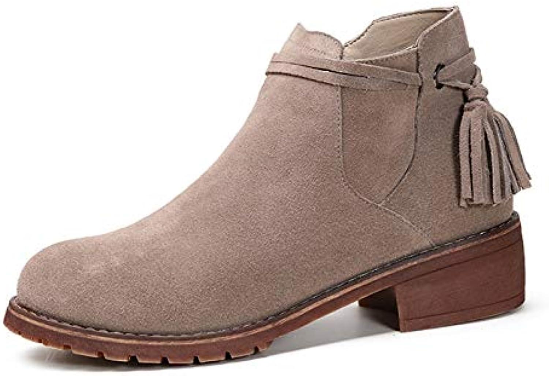 Tassel Boots Women Zipper Flat Ankle Suede Leather shoes (color   Beige, Size   CA 7)
