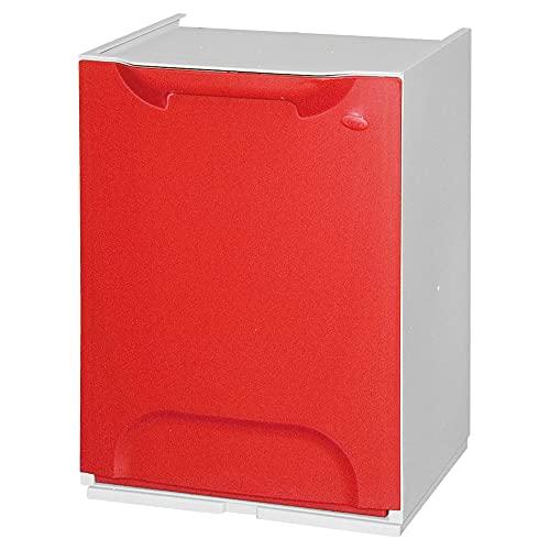 Art Plast ECO-LOGICO Papelera reciclaje en polipropileno color rojo, con depósito en el interior, 20 litros, 47x34x29