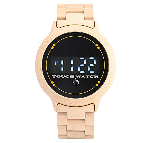 CAIDAI&YL Reloj de Madera para Hombre Reloj de Pulsera Digital con Brazalete de Madera Cierre Plegable Deporte Casual Relojes para Hombre Regalos, A