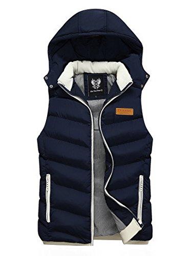 Feoya – Daunenjacke ohne Ärmel Herren für den Winter – Mantel mit Kapuze – 5 Farben Gr. S, dunkelblau