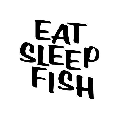 SUIFENG Pegatinas de vinilo para coche, 11 cm x 11 cm, con texto 'Fun Eat Sleep Fish'